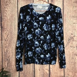 A New Day Cardigan M Floral Blue Sweater